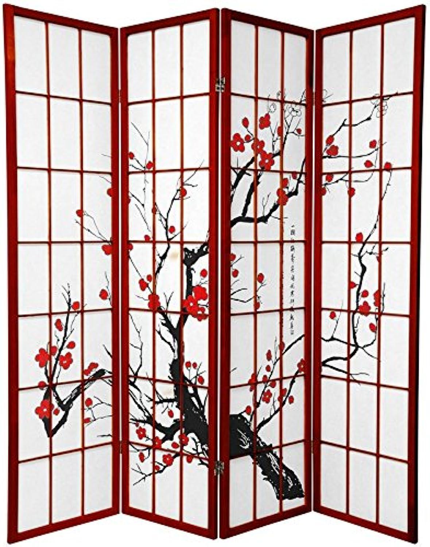 Oriental Furniture Better Quality, 6-Feet Sakura Blossom Shoji Folding Floor Screen Room Divider, pinkwood 4 Panel