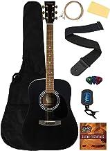 Barcelona D500 Acoustic Guitar - Black Bundle with Gig Bag, Strings, Tuner, Strap, Picks, Fender Play Online Lessons, Inst...