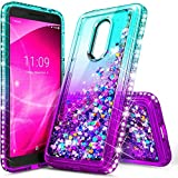 E-Began Case for Alcatel TCL A1X A503DL (TracFone, Straight Talk, Total Wireless, Net10), Sparkle Glitter Flowing Waterfall Liquid Floating w/Bling Diamond, Durable Girls Cute Case -Aqua/Purple