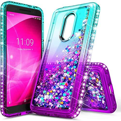 E-Began Case for Alcatel TCL A1X A503DL, Alcatel Onyx 5008R (Cricket), Sparkle Glitter Flowing Waterfall Liquid Floating w/Bling Diamond, Durable Girls Cute Phone Case -Aqua/Purple