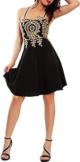Toocool - Vestito Donna Miniabito Elegante Ricamo Oro Argento diciottesimo JL-7641