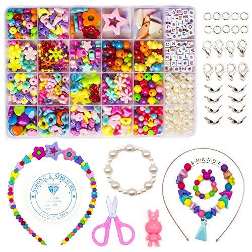 WONDERFORU Juego de manualidades de perlas para enhebrar para niños, joyas, cordones, pulseras de la amistad, para niños y niñas