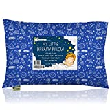 Toddler Pillow with Pillowcase - 13X18 Soft Organic Cotton Baby Pillows for Sleeping - Machine Washable - Toddlers, Kids, Boy, Girl - Perfect for Travel, Toddler Cot, Bed Set (Off to Space)
