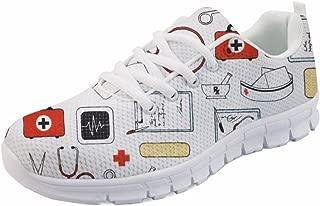 Fashion Cartoon Nurse Printed Running Shoes for Women Sports Walking Flats
