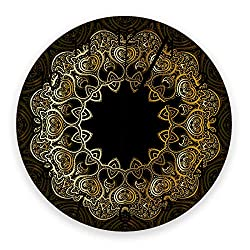 12 Inch Silent Round Wooden Wall Clock Abstract Noble Golden Wreath Art Illustration Wall Clock, Non Ticking Battery Operated Quartz Home Decor Wall Clocks for Living Room/Kitchen/Office