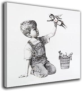 Desconocido Cuadro Lienzo Canvas Banksy niño Juguete Enfermera superheroe– Varias Medidas - Lienzo de Tela Bastidor Madera...