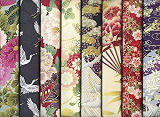 8 Beautiful Asian Japanese Fat Quarter Quilt Fabric Packet #2 - All with Gold Metallic: 2 Yards