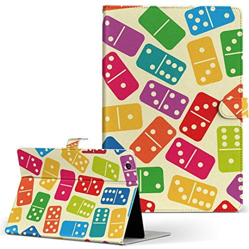 igcase KYT33 Qua tab QZ10 キュアタブ quatabqz10 手帳型 タブレットケース カバー レザー フリップ ダイアリー 二つ折り 革 直接貼り付けタイプ 007760 ユニーク カラフル サイコロ さいころ 模様