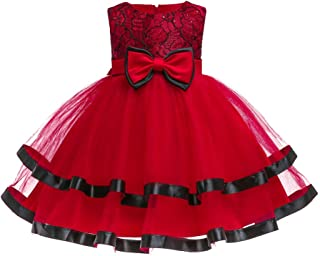 XFentech Baby Girls Tulle Applique Ball Gown - Newborn Infant Gifts Baptism Ruffle Wedding Dresses Bowknot Princess Birthday Party Red Dress, Red, 6M