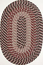 "product image for Plymouth 7'4"" x 9'4"" (88"" x 112"") Oval Braided Rug in Black Olive Red Made in USA"