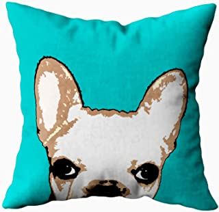 Musesh French Bulldog Turquoise pop Art Cushions Case Throw Pillow Cover for Sofa Home Decorative Pillowslip Gift Ideas Household Pillowcase Zippered Pillow Covers 18X18Inch
