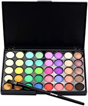 Huikai Popfeel 40 Colors Eyeshadow Palette Matte Shimmer Eye Shadow Makeup Powder Set with Brushes for Party for Show for Prom (Bright colors)
