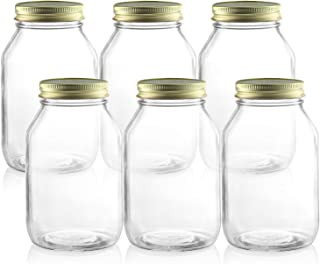 Pack of 6- Glass Mason Jars 32 Oz - Round Clear Canning Jars with Lids- set of 6 Wide Mouth Quart Mason Jar with Metal Airtight Sealing Lid and Labels - for Canning, pickling, Gifting, Storage