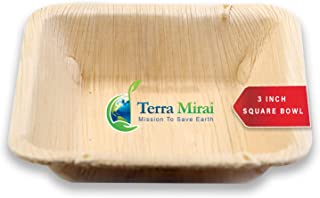 Terra Mirai Palm leaf Bowl - Pack of 20, 3 Inch Bowl - Ecofriendly Disposable Dinnerware - Biodegradable and Premium Quality Bowl - Ideal for Party, BBQ, Camping and More (3 Inch Square Bowl)