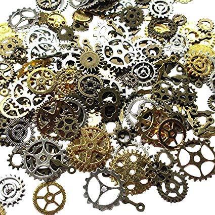 Paquete de 100gramos (aproximadamente 70 unidades) de engranajes Chenkou surtidos de aspecto envejecido para manualidades y joyas de estilo Steampunk Multi-color