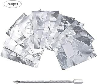 Lictin 200 Pcs Foil Nail Wraps Remover, 1 Piece Cuticle Pusher, Nail Polish Remover Foil Wrap(Slivery)