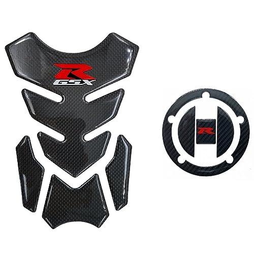 Real Carbon Fiber 3D Sticker Vinyl Decal Emblem Protection Gas Tank Pad & Cap Cover For