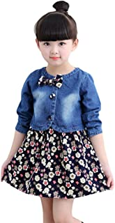 Hopscotch Girls Cotton All Over Print Dress with Jacket in Blue Color
