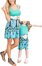 Qin.Orianna Mommy and Me Family Matching Clothes,Sleeveless and Floral Printed Sundress Outfits for Family Look