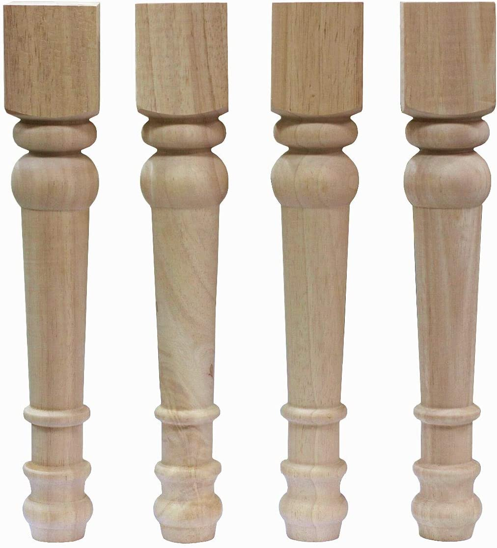 WEICHUAN Solid Unfinished Rubber Wood Furniture Legs Replacement
