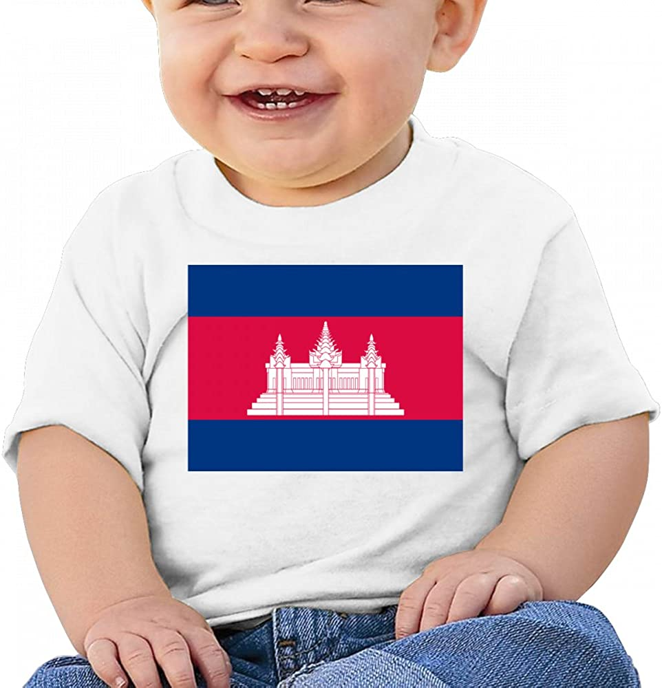 LINGMEI Cambodian-Flag Baby T Shirts Infant Short Sleeve Top for Boys and Girls