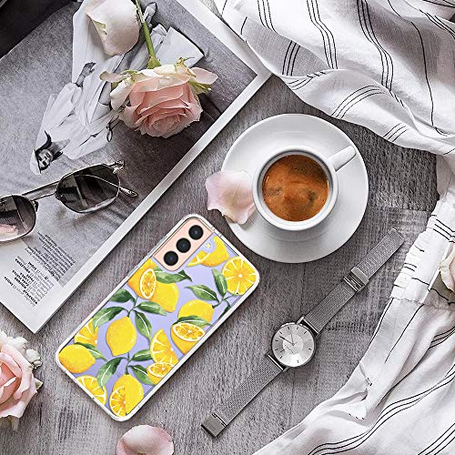 MOSNOVO Galaxy S21 5G Hülle, Zitrone Muster TPU Bumper mit Hart Plastik Hülle Durchsichtig Schutzhülle Transparent für Samsung Galaxy S21 5G Case