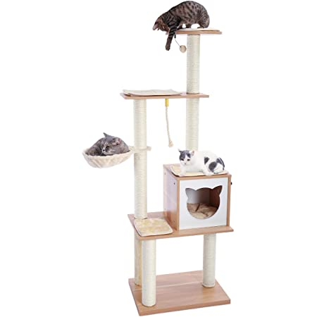 Made4Pets 65.6 Inches Modern Cat Tree 6 Levels Cat Tower with Sturdy Scratching Posts, Large Condo, Soft Hammock and Removable Mats