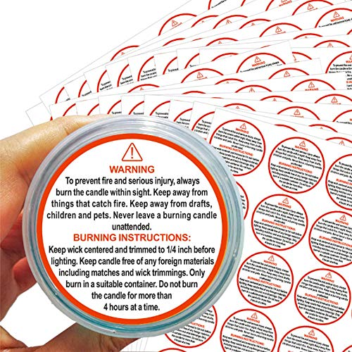 500pcs Candle Warning Stickers, Waterproof Wax Melting Candle Safety Stickers for Candle Jars,Tins and Votives, 1.5 inch Round Candle Warning Labels