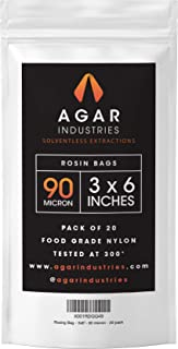 Agar Industries - Rosin Press Filter Bag -Screens for Solventeless Oil Extractions in Rosin Tech (20 pack, 3x6 in. 90 micron)