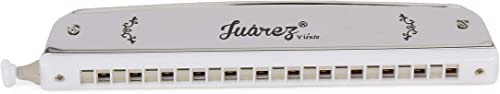 JUAREZ 24 Holes JRH24CHSL Harmonica Brass Reed Plate Aluminum Cover Chromatic Tower Mouth Organ With case Silver
