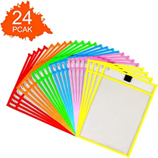 SMTTW Dry Erase Pockets Reusable Sleeves 24 Pack Dry Erase Sleeves Heavy Duty Oversized 10