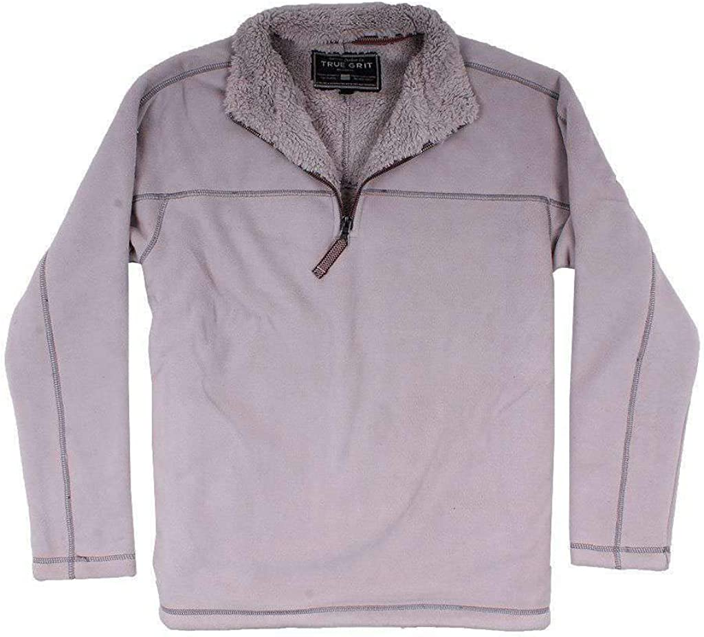 True Grit Bonded Polar Fleece & Sherpa Lined 1/4 Zip Pullover with Pockets in Faded Heather