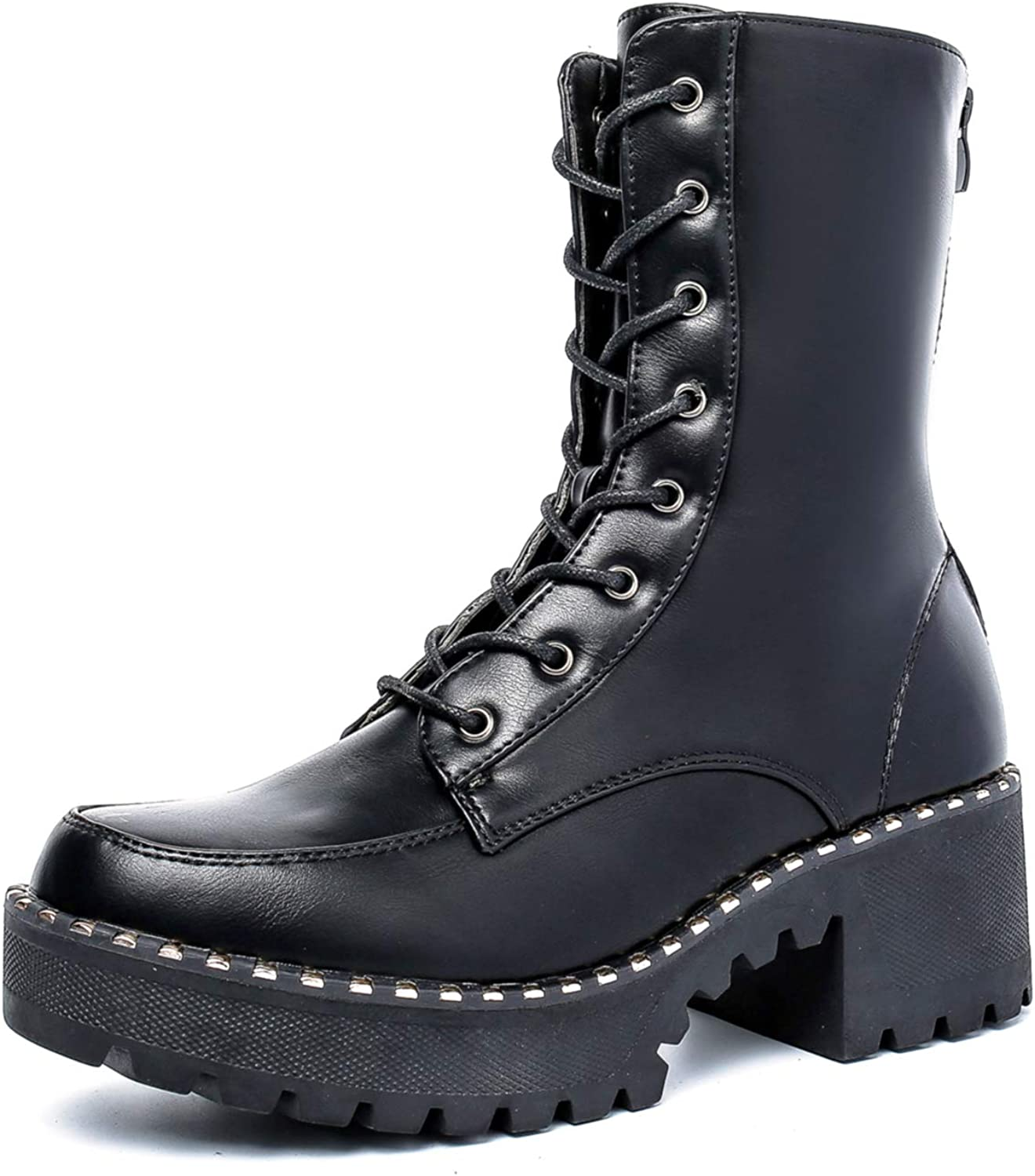 Fashion Goth Dottie Womens Platform Chunky Combat Boots Lace up with Zip Ankle Calf Knee High