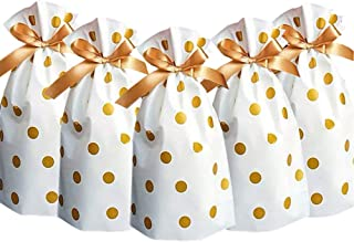 24pcs Treat Bags Party Favor Bags Gold Plastic Drawstring Gift Bags Candy Goodies Bags Food Storage Bags Gift Wrapping Pac...