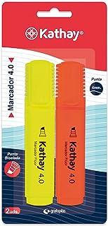 Kathay 86211999. Lot de 2 surligneurs, couleur jaune et orange, pointe biseautée 4 mm