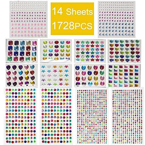 Selbstklebende Steine Basteln,14 Blätter 1782 Selbstklebenden Strasssteine Glitzersteine zum Aufkleben Schmucksteine Aufkleber für Kinder Handwerke, Fotorahmen, Grußkarten, in Verschiedenen Größen