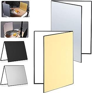 SOONPHO 撮影用 レフ板 2枚 セット 折りたたみ式 反射板 自立可能 四角レフ 1枚3カラー 白 黑 銀金 A4 A3 サイズ 40 x 30cm コンパクト 補光 吸光 輪郭強調 ライティング道具 小物 料理 商品撮影