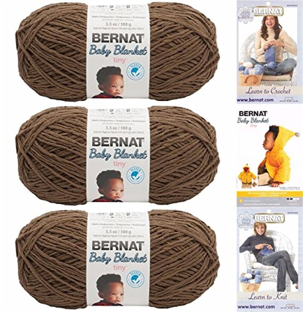 Bernat Baby Blanket Tiny 3 Pack 100 Percent Polyester Gauge Medium 4 Worsted Bundle (Brown Bear)