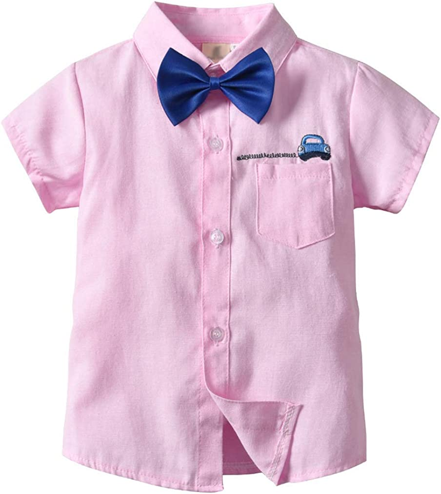 Qinni-shop Toddler Boys Car Embroidered Linen Button Down Casual Shirt with Bow Tie