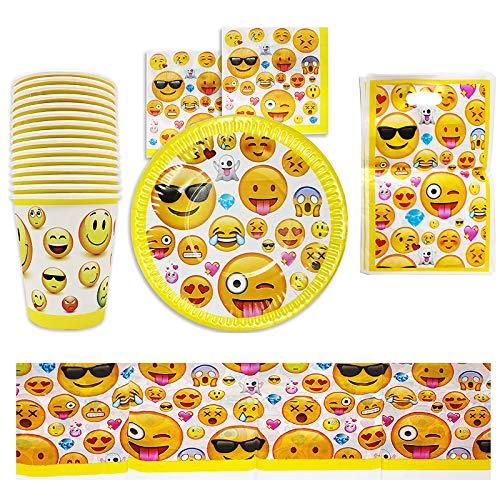 matana 76-Teiliges Emoji Party Set für Kindergeburtstag, für 15 Gäste - Smiley Emoticon Partygeschirr Partyzubehör für Jungen & Mädchen.