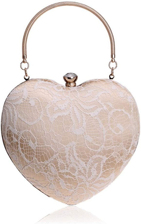 Wershiny Crossbody Shoulder Bag Handbags for Party Wedding Ladies Dinner Bag Fashion Peach Heart Shape Party Bag Evening Clutch
