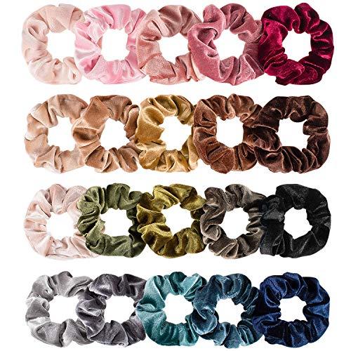Whaline Hair Scrunchies Velvet Hair Bobble Elastics Hair Bands Soft Hair Ties for Girls, Women (20 Colors)