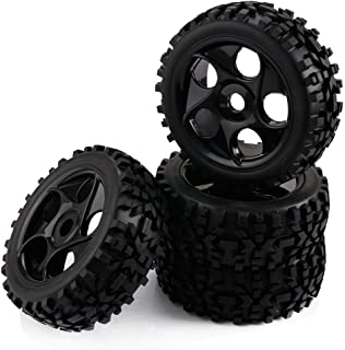 Yiguo 17mm Hex Plastic 5 Holes Wheel Rim and Diamond Arrow Pattern Tires for RC 1:8 Off Road RC Car Black set of 4