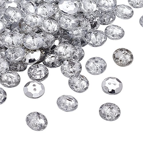 Pandahall 100pcs 2-Hole Acrylic Crystal Clear Rhinestone Sewing Fastening Buttons Jewelry Scrapbooking Flat Round 1/2 Inch Diameter Faceted Hole: 1.6mm