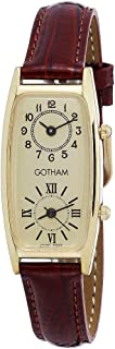 Women's Gold-Tone Dual Time Zone Leather Strap Watch # GWC15092GB