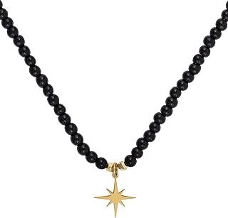  Gargantilla en Plata de Ley 925 bañada en Oro con Piedra semipreciosa con diseño Estrella Polar Onix Gold