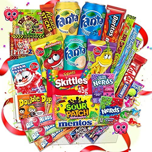 Amerikanische Süßigkeiten XXL Box 2,3 kg  24+3 Teile gratis leckere USA Süssigkeiten Kennenlernbox - Candy Mix inkl. Getränke – Fanta – 7up Reeses, Hersheys, Pocky, Skittles Süßigkeiten aus aller Welt