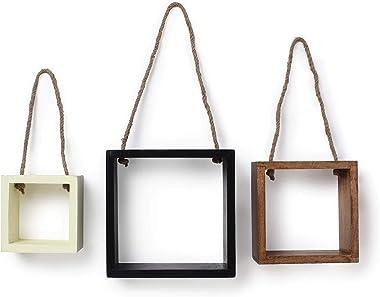 Yatha Square Floating Wall Hanging Wooden Shelves | Rack & Shelf/Kitchen/Office/Bedroom/Livingroom | Brown, Black and Whi
