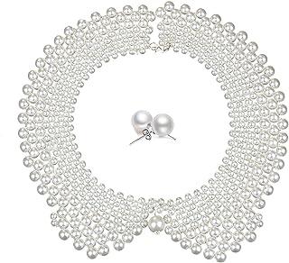 Bluegoog RBG Dissent Fake Collar Choker, Detachable Pearl Beads Chunky Bib Collar Statement Necklace Set for Women Cosplay...