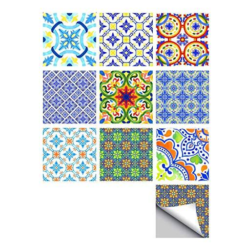 ZYT 20 PCS Adhesif Mural Traditionnel Tuile des Autocollants pour Salle de Bains Et Cuisine Dosseret Décoration (20x20cm) Imperméable Amovible Stickers muraux Décalcomanies,15 * 15CM